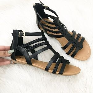 Black Braided Gladiator sandals